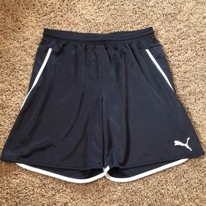 Navy Puma Soccer Shorts with White Piping
